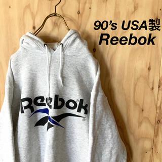 リーボック(Reebok)の【美品】90's USA製 Reebok 染込み ビッグプリント フーディ(パーカー)