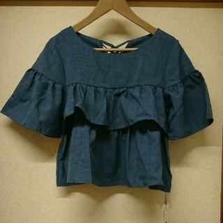 メルロー(merlot)の新品*merlot*バックリボンティアードフリルトップス(シャツ/ブラウス(半袖/袖なし))