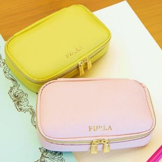 フルラ(Furla)のMORE 5月 付録 フルラ ジュエリーポーチ  ピンク+ライム(ファッション)
