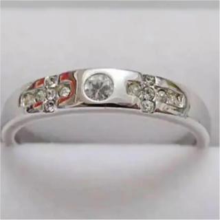 即購入OK♡十字架クロスラインストーンのシルバーカラーリング指輪(リング(指輪))