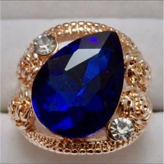 即購入OK*訳ありドロップ型ブルーストーンピンクゴールド指輪大きいサイズC22(リング(指輪))