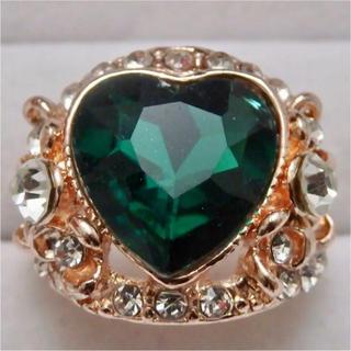 即購入OK*訳ありハート型グリーンストーンピンクゴールド指輪大きいサイズC23(リング(指輪))