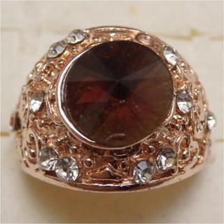 即購入OK*訳ありラインストーンのピンクゴールド指輪大きいサイズC29(リング(指輪))