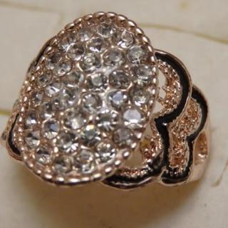 即購入OK*訳ありラインストーンのピンクゴールド指輪大きいサイズC34(リング(指輪))