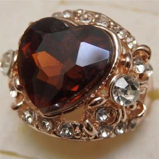 即購入OK*訳ありラインストーンのピンクゴールド指輪大きいサイズC31(リング(指輪))