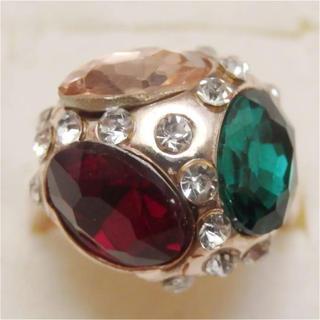 即購入OK*訳ありラインストーンのピンクゴールド指輪大きいサイズC27(リング(指輪))