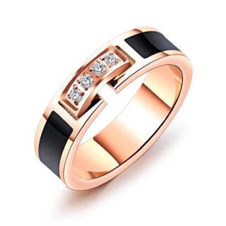 18Kピンクゴールド鍍金CZダイヤブラックチタンリング(リング(指輪))