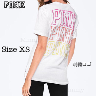 ヴィクトリアズシークレット(Victoria's Secret)のPINK♡キャンパス ショート スリーブTシャツ♡刺繍 ロゴ(Tシャツ(半袖/袖なし))