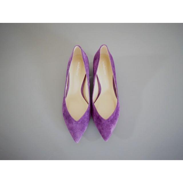 アナトリエ souhaiter Vカット本革スエードパンプス24.0パープル レディースの靴/シューズ(ハイヒール/パンプス)の商品写真