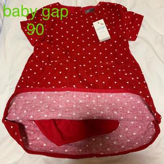 ベビーギャップ(babyGAP)の新品タグ付き*baby gap*コーデュロイ*半袖ワンピース*ブルマ付き*ハート(ワンピース)