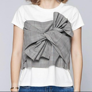 イエナ(IENA)のビスチェ風 デザイン リボン Tシャツ(Tシャツ(半袖/袖なし))