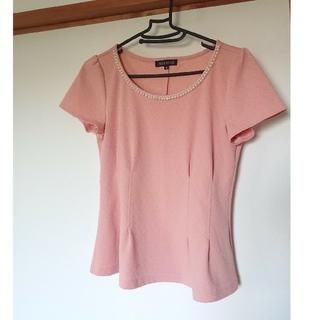 ミッシュマッシュ(MISCH MASCH)のトップス Tシャツ カットソー ビジュー Aライン ピンク 半袖 ブラウス(Tシャツ(半袖/袖なし))