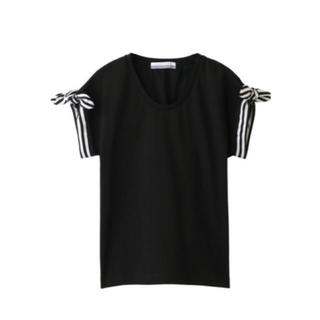 バーニーズニューヨーク(BARNEYS NEW YORK)のボーダーズアットバルコニー リボン Tシャツ 黒 36(Tシャツ(半袖/袖なし))