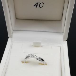 ヨンドシー(4℃)の希少 未使用 4℃ K10 ホワイトゴールド ダイヤ リング ZM165(リング(指輪))