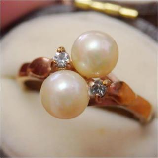 即購入OK♡V042昭和レトロパールゴールドカラーリングヴィンテージ指輪(リング(指輪))
