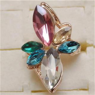即購入OK*訳ありラインストーンのピンクゴールド指輪大きいサイズC37(リング(指輪))
