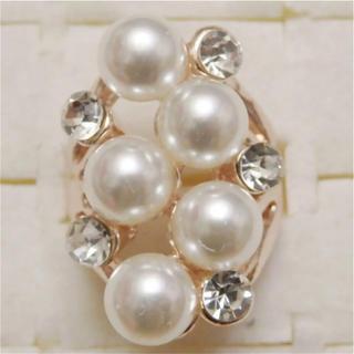 即購入OK*訳ありパールとラインストーンのピンクゴールド指輪大きいサイズC36(リング(指輪))