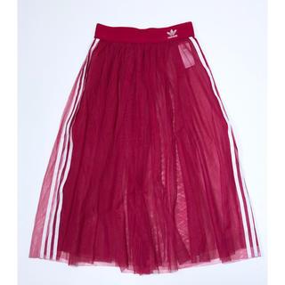 アディダス(adidas)の美品 アディダスオリジナルス レースフレアスカート PINK サイズL (ロングスカート)