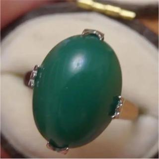 即購入OK♡V061昭和レトロなグリーンストーンシルバーカラーリングヴィンテージ(リング(指輪))
