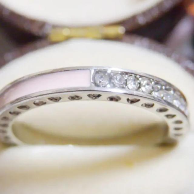 ライトピンクのライン3WAYデザインストーンシルバーリング指輪大きいサイズ レディースのアクセサリー(リング(指輪))の商品写真