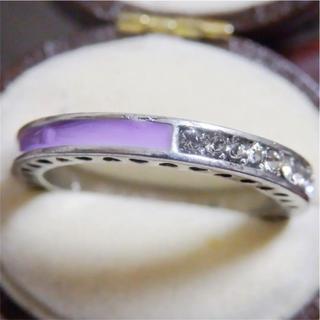 ライトパープルのライン3WAYデザインストーンシルバーリング指輪大きいサイズ(リング(指輪))
