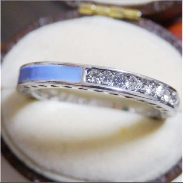 ライトブルーのライン3WAYデザインストーンシルバーリング指輪大きいサイズ レディースのアクセサリー(リング(指輪))の商品写真