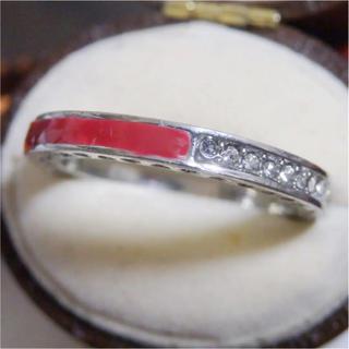 レッドのライン3WAYデザインストーンシルバーリング指輪大きいサイズ(リング(指輪))