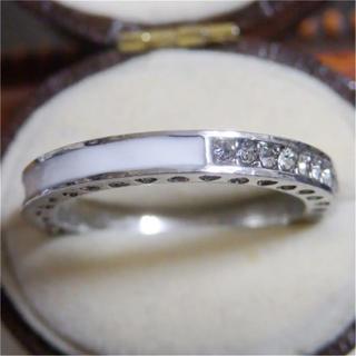 ホワイトのライン3WAYデザインストーンシルバーリング指輪大きいサイズ(リング(指輪))