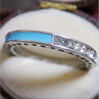 ライトエメラルドグリーンのライン3WAYデザインストーンシルバーリング指輪(リング(指輪))