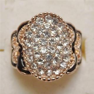 即購入OK*訳ありラインストーンのピンクゴールド指輪大きいサイズC35(リング(指輪))