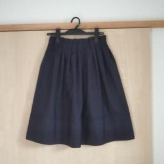 ラクテン(Rakuten)の膝丈ふんわりスカート ネイビー(ひざ丈スカート)