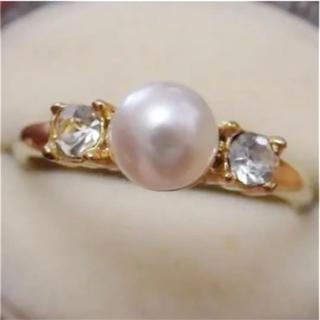 即購入OK●V008パールとラインストーンのシンプルリング指輪重ね付けにも☆(リング(指輪))