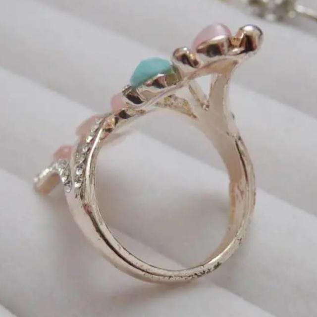 即購入OK*訳ありピンクとライトブルーゴージャスピンクゴールドリング指輪 レディースのアクセサリー(リング(指輪))の商品写真