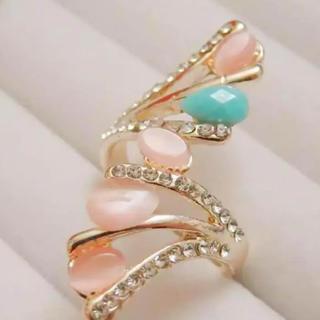 即購入OK*訳ありピンクとライトブルーゴージャスピンクゴールドリング指輪(リング(指輪))