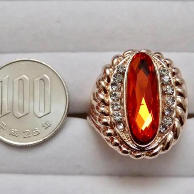 即購入OK*訳ありオレンジストーンのゴージャスピンクゴールドリング指輪 レディースのアクセサリー(リング(指輪))の商品写真