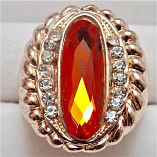 即購入OK*訳ありオレンジストーンのゴージャスピンクゴールドリング指輪(リング(指輪))