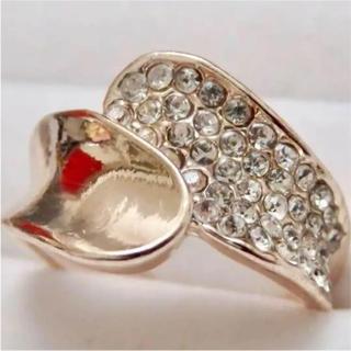 即購入OK*訳ありラインストーンのモードピンクゴールド指輪大きいサイズ(リング(指輪))