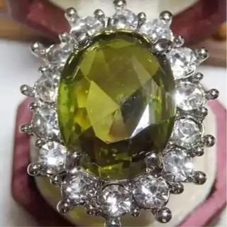 即購入OK*カーキグリーンストーンゴージャスリング指輪(リング(指輪))