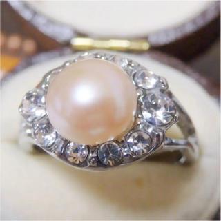 即購入OK*訳ありパールとラインストーンのリング指輪大きいサイズD11(リング(指輪))