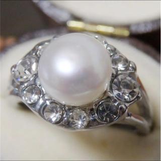 即購入OK*訳ありパールとラインストーンのリング指輪大きいサイズD19(リング(指輪))