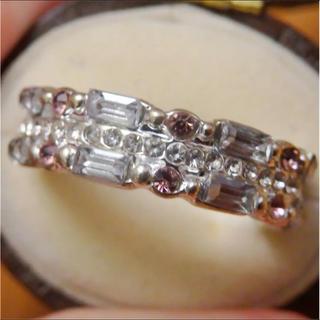ラインストーンとシルバーカラーリング指輪大きいサイズ(リング(指輪))