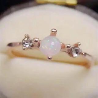オパールのようなピンクゴールド華奢リング指輪大きいサイズ(リング(指輪))