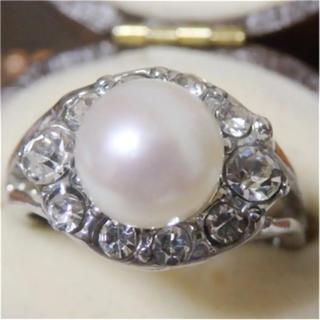 即購入OK*訳ありパールとラインストーンのリング指輪大きいサイズD16(リング(指輪))