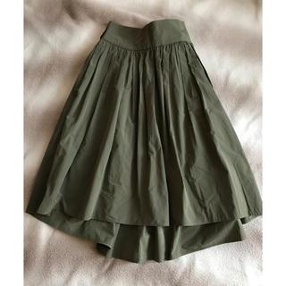 デミルクスビームス(Demi-Luxe BEAMS)のDemi-Luxe BEAMS  カーキ ミモレ丈フレアスカート(ひざ丈スカート)