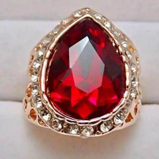 即購入OK*訳ありドロップ型レッドストーンピンクゴールド指輪大きいサイズ(リング(指輪))