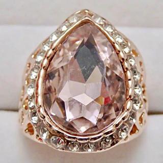 即購入OK*訳ありドロップ型モルガナイトのようなピンクゴールド指輪大きいサイズ(リング(指輪))
