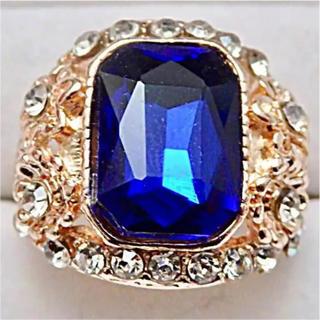 即購入OK*訳あり深いブルーストーンアンティーク調ピンクゴールド指輪大きいサイズ(リング(指輪))