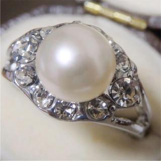 即購入OK*訳ありパールとラインストーンのリング指輪大きいサイズD12(リング(指輪))