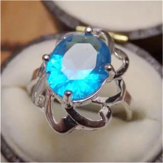 大幅値下げ花モチーフライトブルーストーンリング指輪大きいサイズ(リング(指輪))