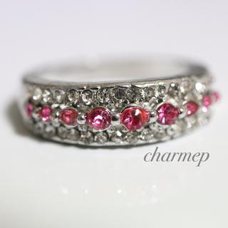 ピンクストーンのデザインシルバーカラーリング指輪大きいサイズ(リング(指輪))